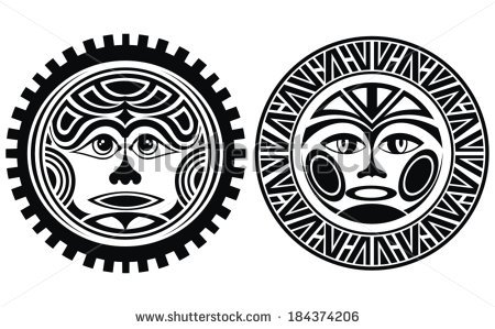 Polynesian Styled Masks Tattoo Designs