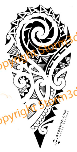 Polynesian Tattoo Design For Calf