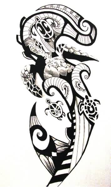 Polynesian Tattoo Design With Bird And Turtle