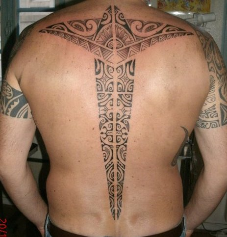 Polynesian Tattoo On Middle Back