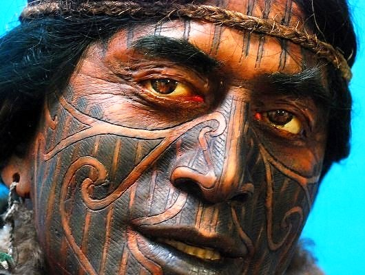 Polynesian Tattooed Face