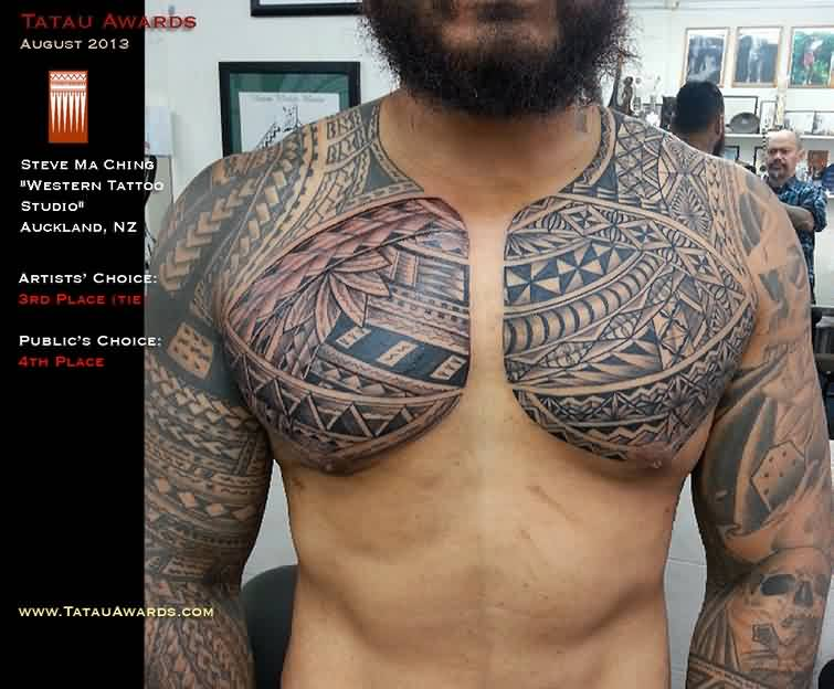 Polynesian Tattoos On Chest And Half Sleeves