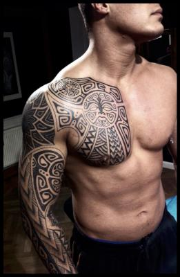 Polynesian Tattoos On Chest And Right Sleeve For Guys