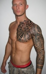 Polynesian Tattoos On Chest And Sleeve