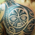 Polynesian Tattoos On Chest And Upper Back