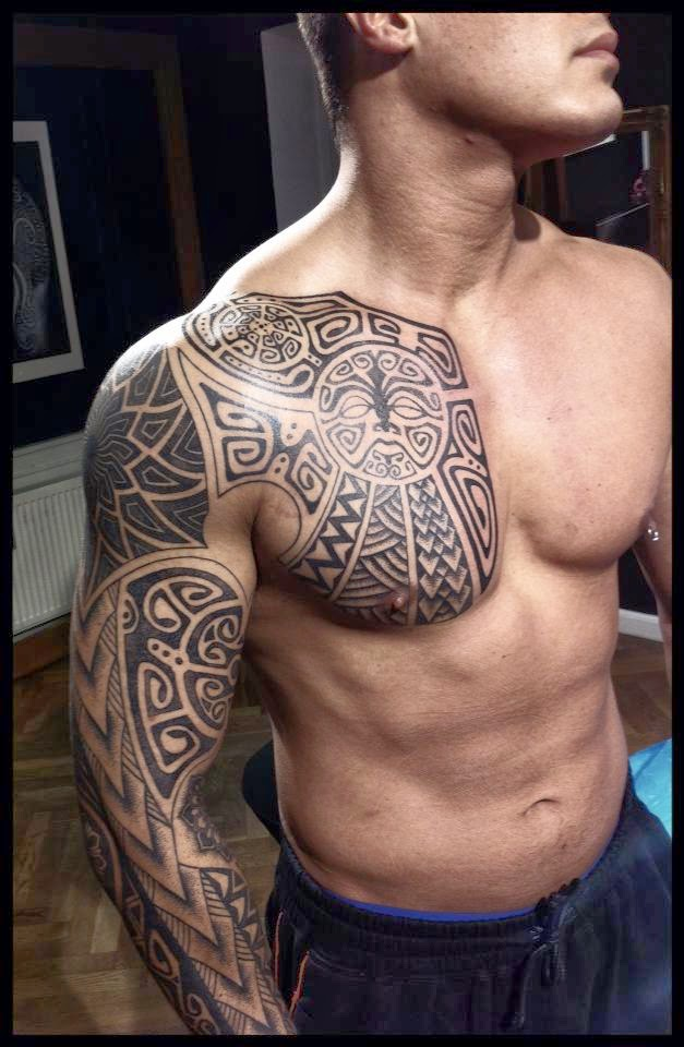 Polynesian Tribal Chest Tattoos