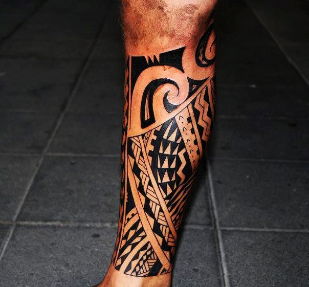 Polynesian Tribal Full Calf Tattoo On Leg