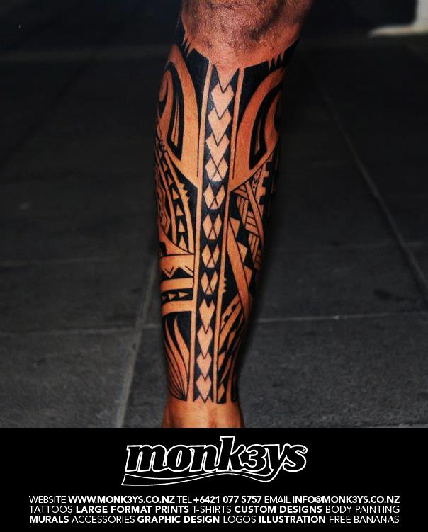 Polynesian Tribal Full Calf Tattoo