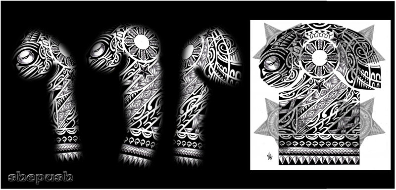 Polynesian Tribal Sleeve Tattoo Design