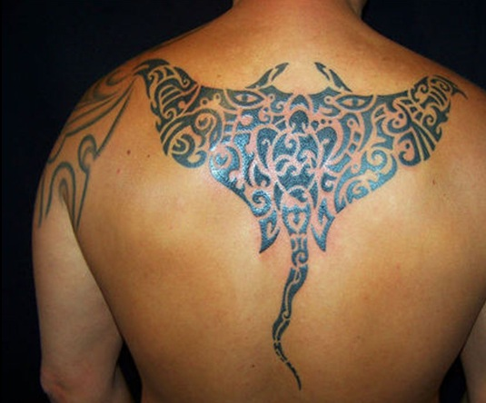 Polynesian Turtle And Symbol Tattoos On Back