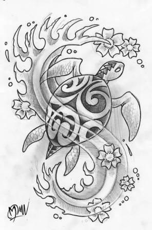Polynesian Turtle Flowers And Waves Tattoos Sketch
