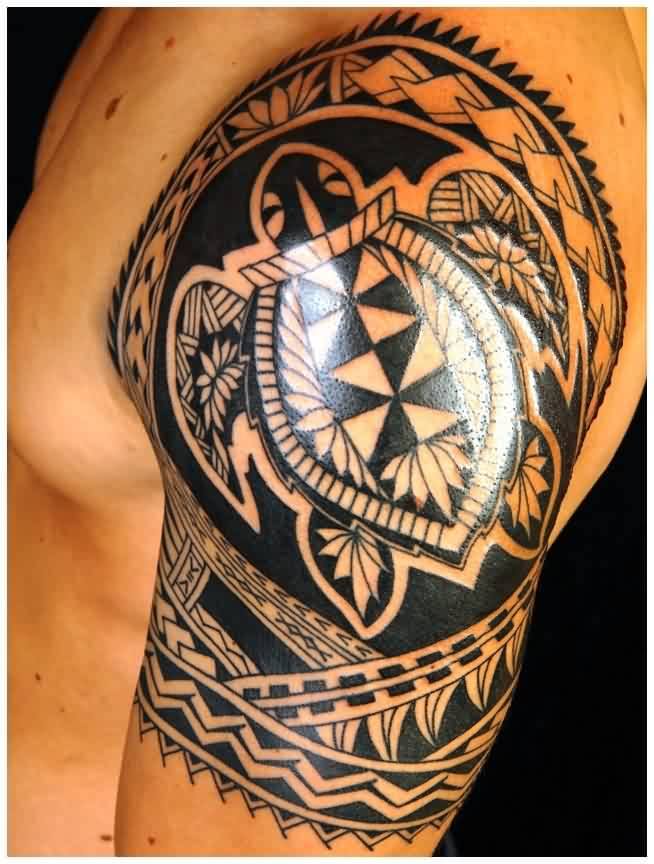 Popular Black Polynesian Tattoos On Shoulder