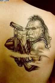 Popular Warrior Tattoo On Right Back Shoulder