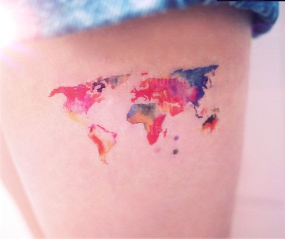 Popular World Map Tattoo For Girls