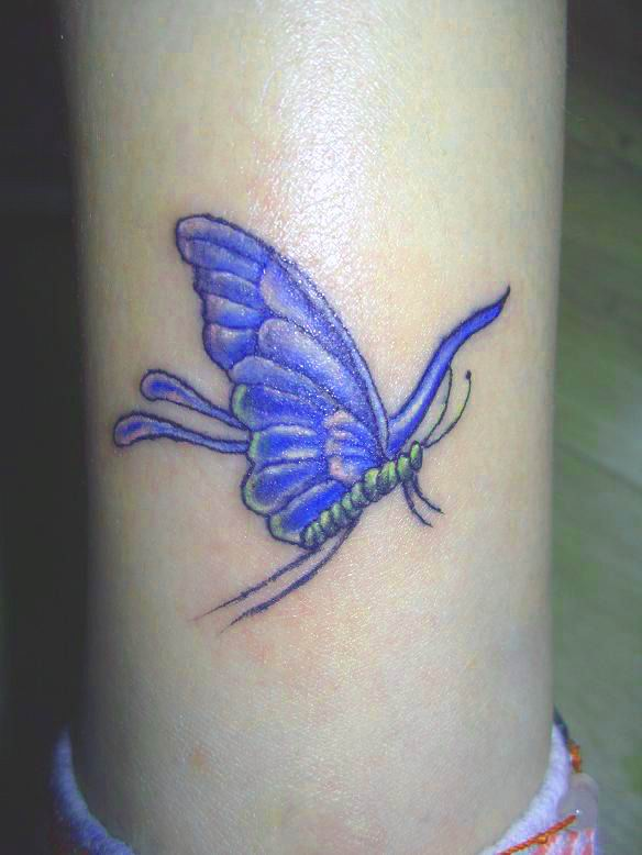 Pretty 3D Blue Butterfly Tattoo For Young Girls