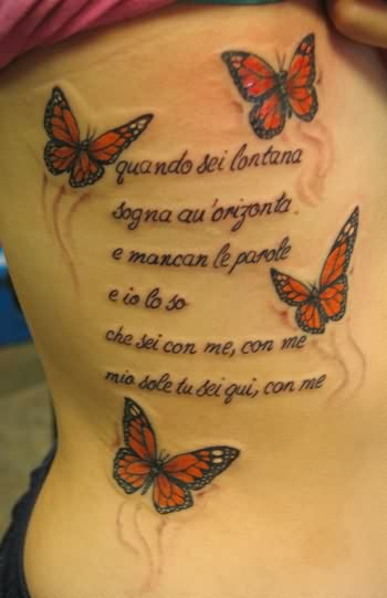 Pretty 3D Butterflies And Poem Tattoos On Side