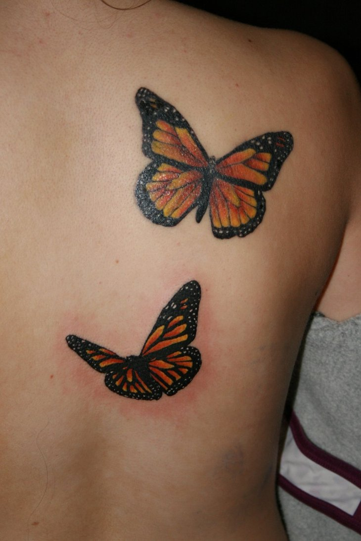 Pretty 3D Butterflies Tattoos
