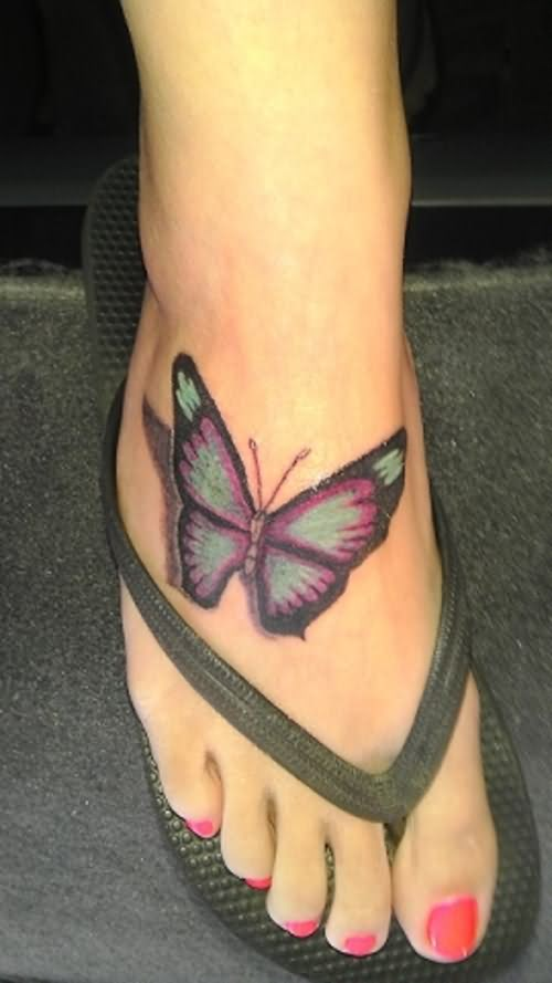 Pretty 3D Butterfly Tattoo On Foot