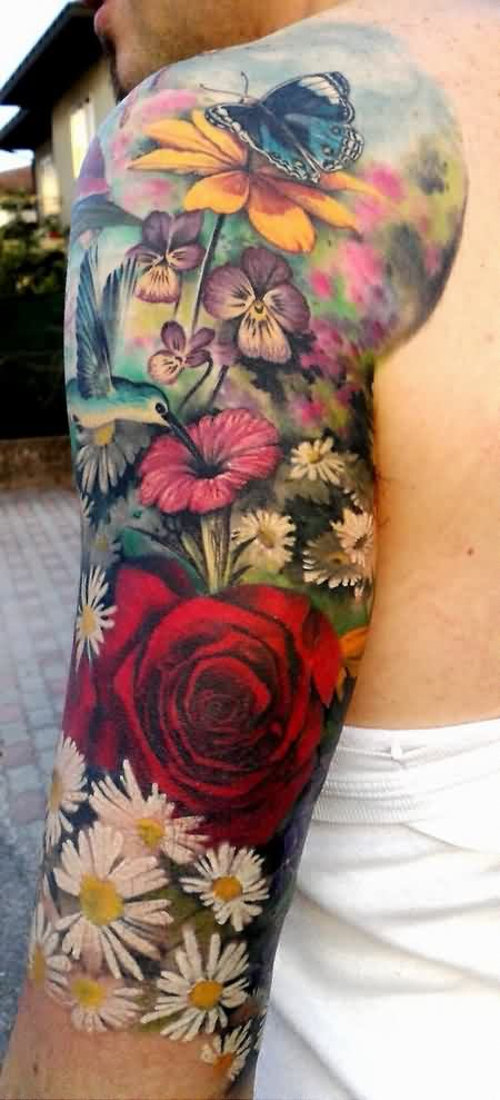 Pretty 3D Color Flower Tattoos On Half Sleeve