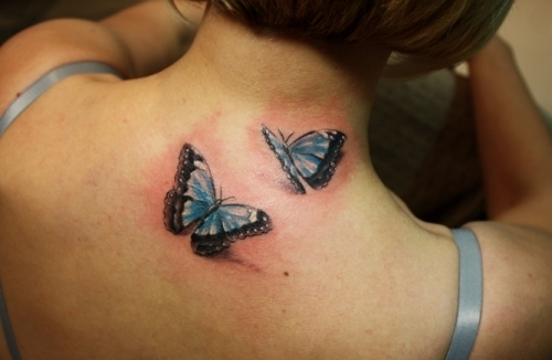 Pretty Blue 3D Butterflies Tattoos