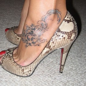Pretty Blue Ocean Wave Tattoo On Ankle