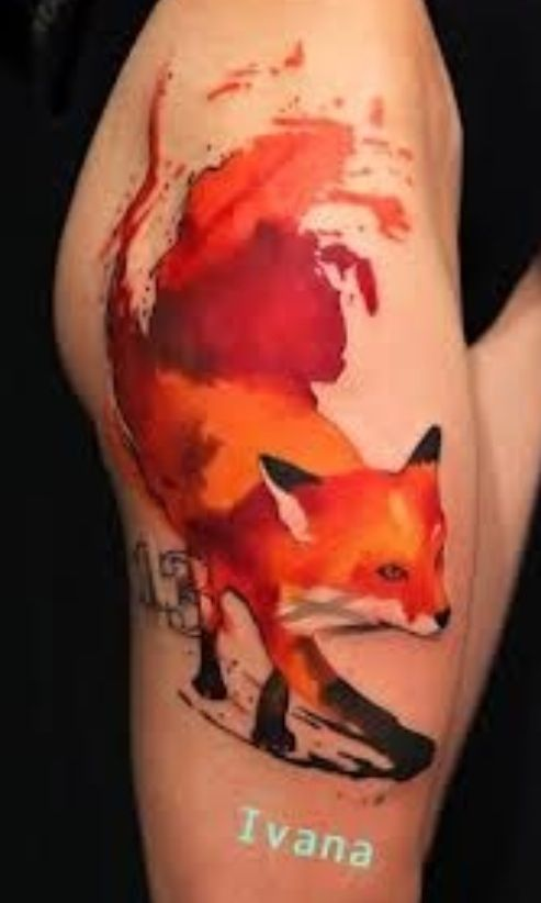 13 And Fox Watercolor Tattoos