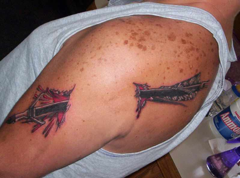 3D Archery Arrow Through Arm Tattoo For Guys