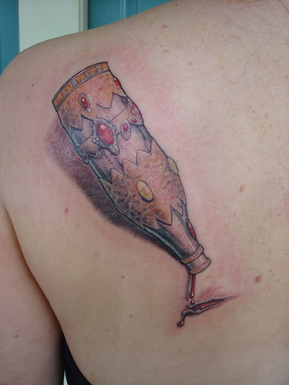 3D Bleeding Bottle Tattoo On Back Shoulder