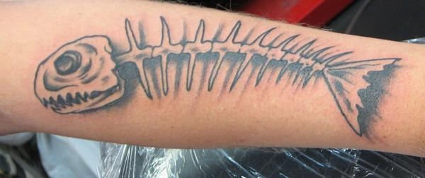 3D Fish Bones Tattoo