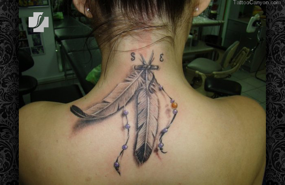 3D Native American Feather Tattoos On Back Neck