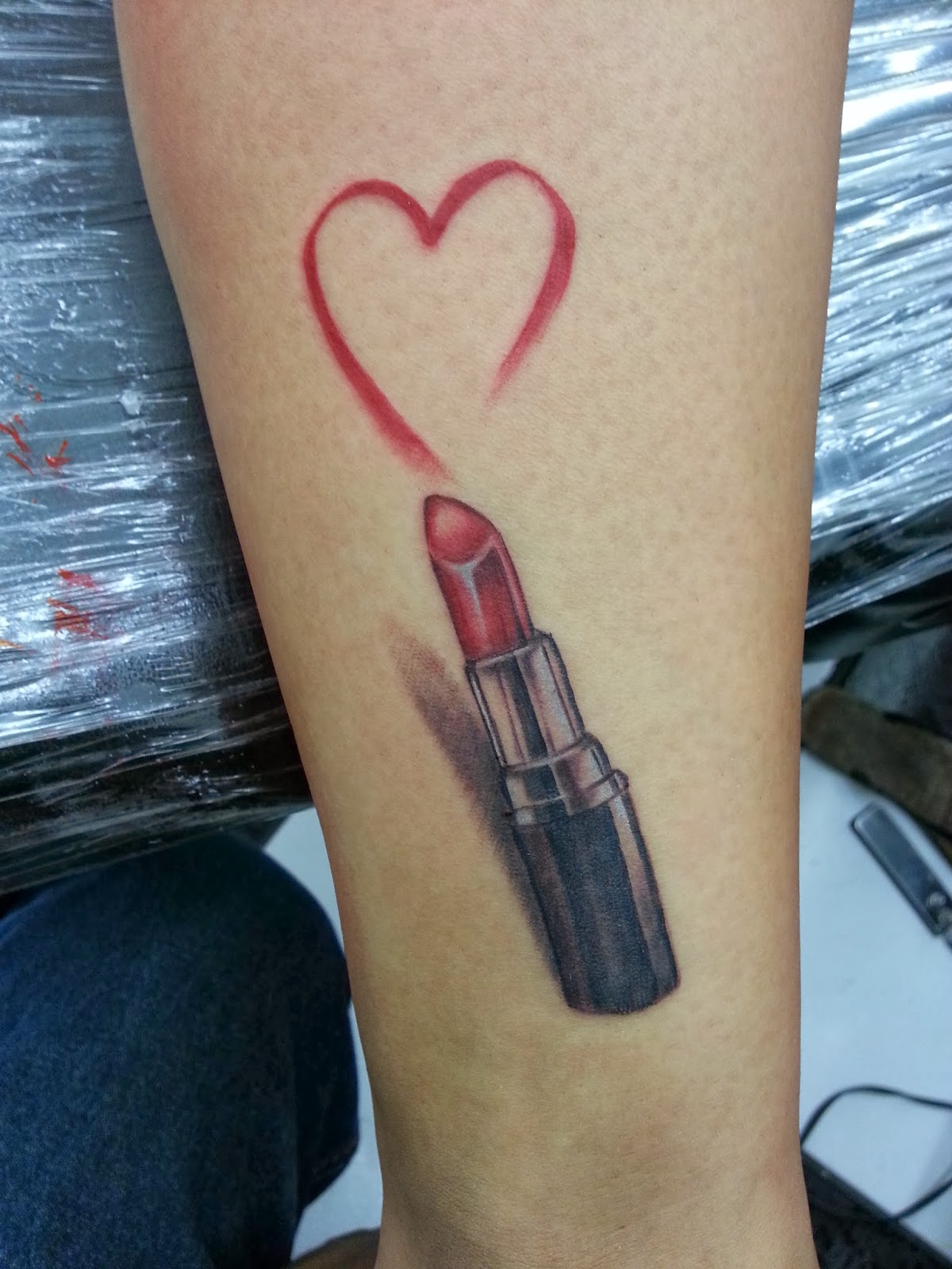 3D Red Lipstick Heart Tattoo