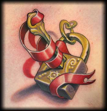 3D Red Ribbon Lock And Key Tattoos