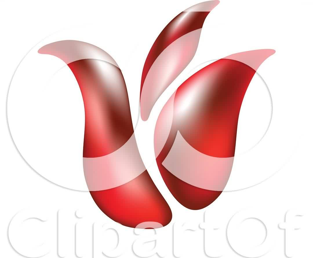 3D Red Tulip Tattoo Sample