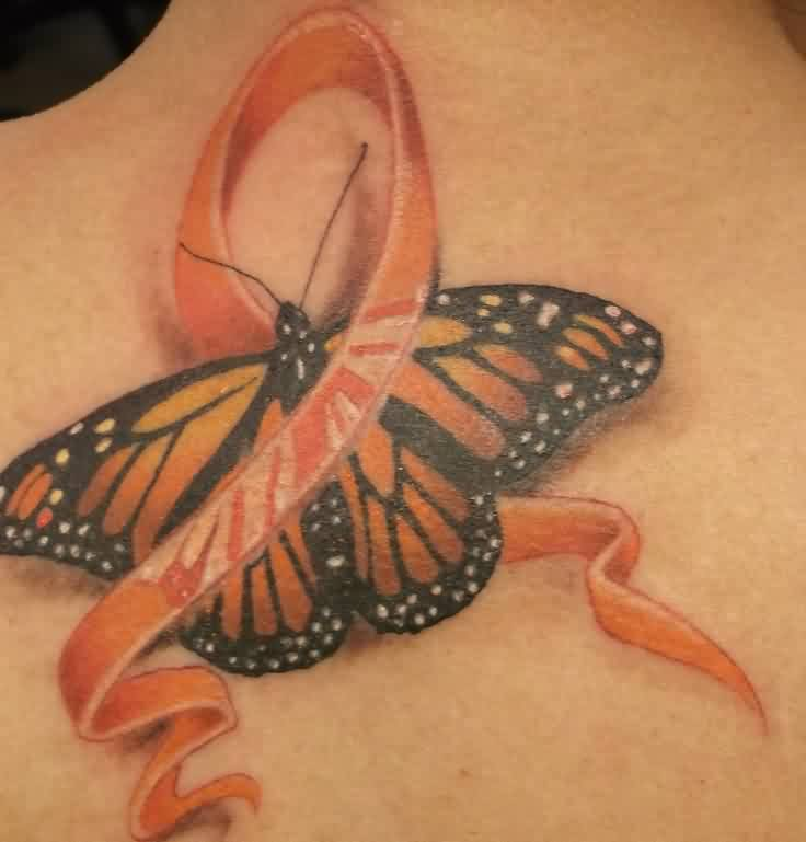 3D Ribbon And Butterfly Tattoos