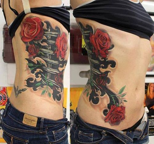 3D Ripped Skin Bones And Rose Tattoo On Ribs