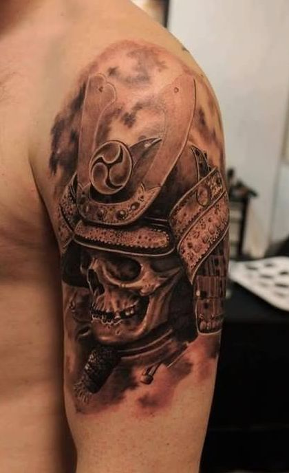 3D Warrior Skull Helmet Tattoo On Shoulder