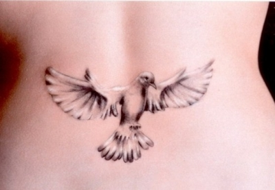 3D White Pigeon Tattoo On Back