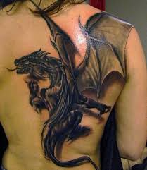 3D Winged Dragon Tattoo On Backbody