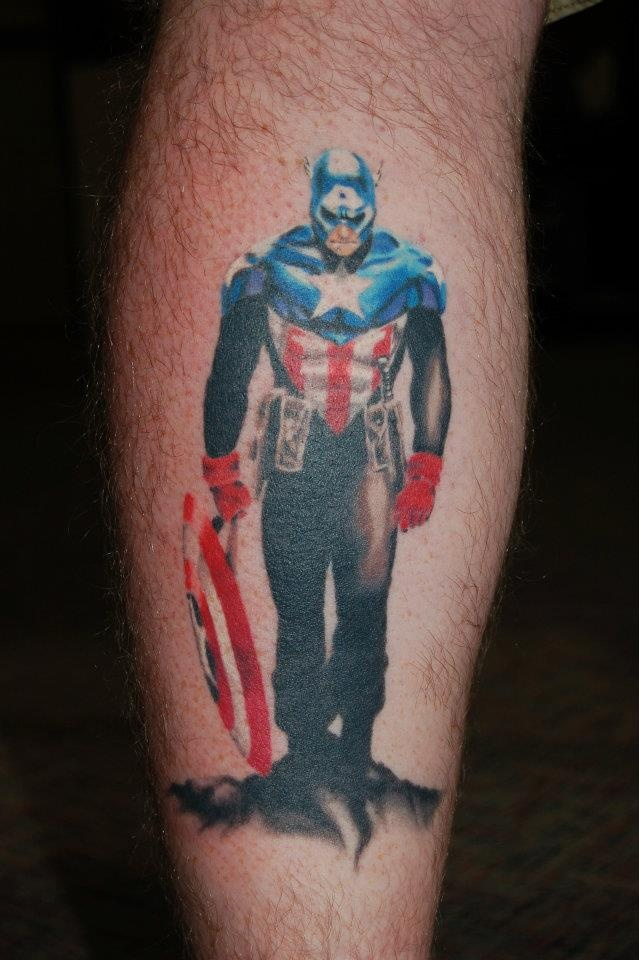 Standing Captain American Tattoo On Arm