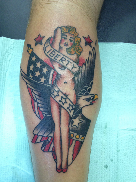 Statue Of Liberty Pin Up - American Tattoo