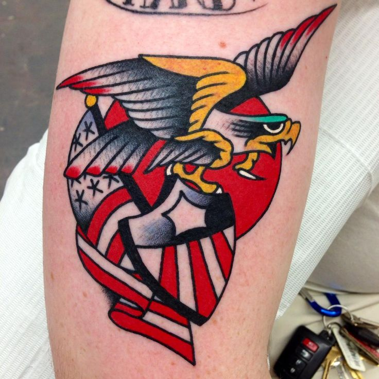 Traditional American Eagle Flag And Shield Tattoos