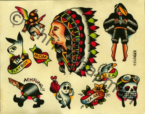 Traditional American Tattoos Flash