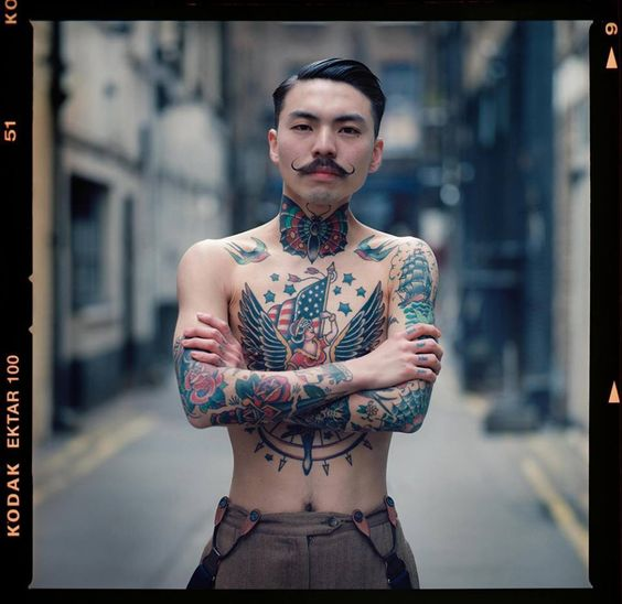 Traditional American Tattoos On Chest For Men