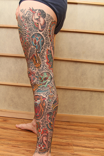 Traditional American Tattoos On Legs