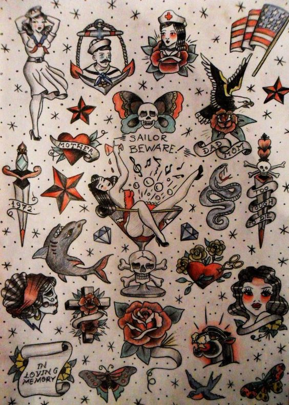 Traditional American Tattoos Sheet