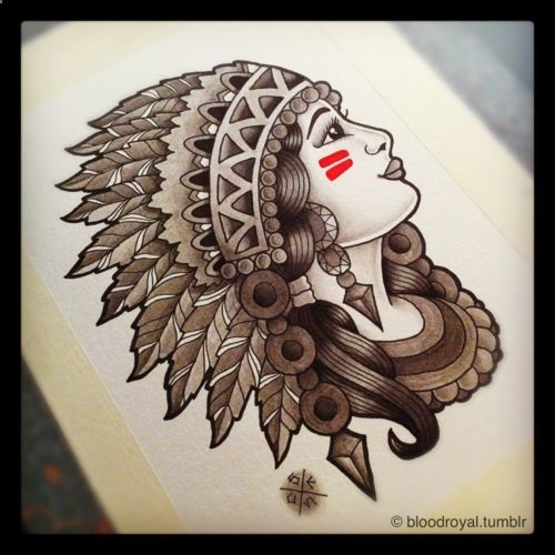 Traditional Native American Lady Tattoo Design