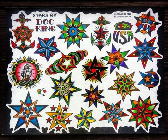 Traditional Stars And American Tattoos Flash