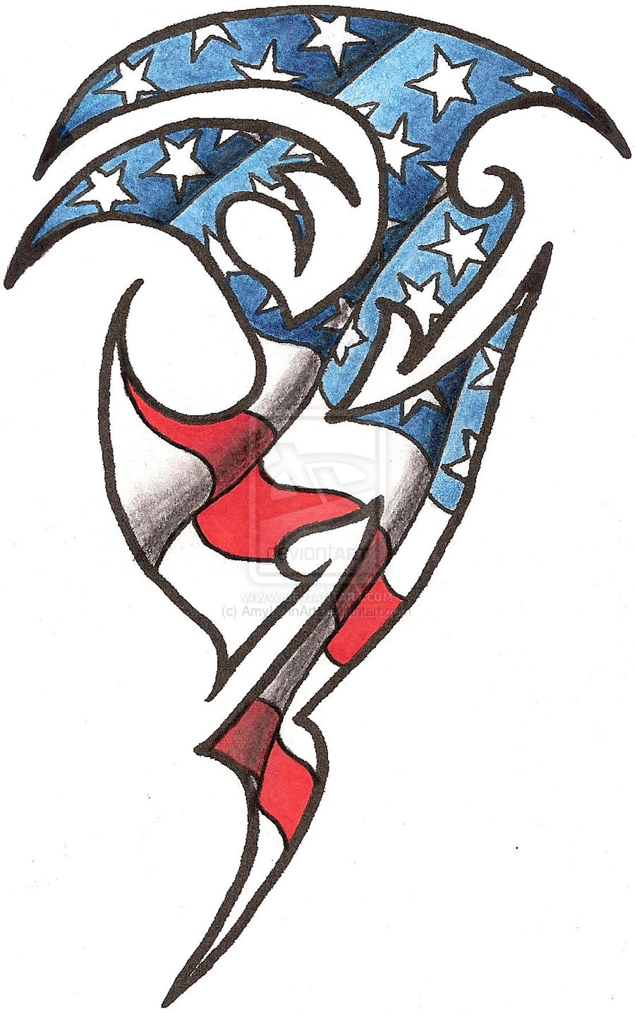 Tribal American Flag Tattoo Design