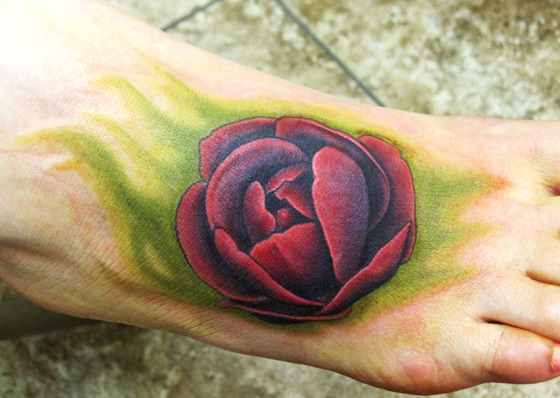 Unique Grey Tulips Tattoo On Leg And Foot