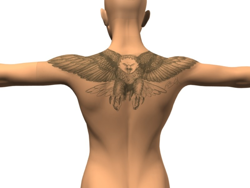 Upper Back Native American Bird Tattoo For Men